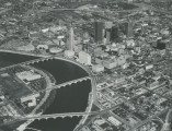 Aerial view of Downtown along Scioto River.