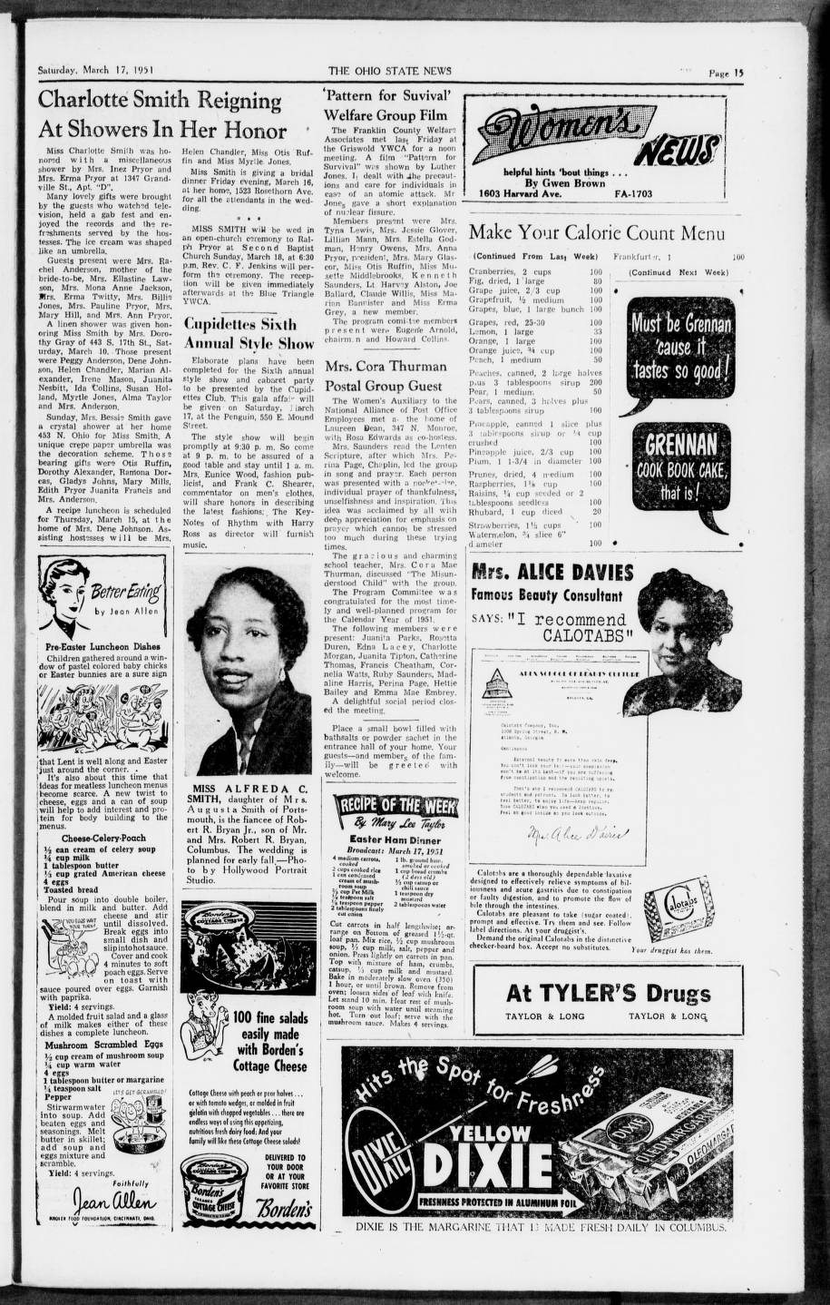 the ohio state news columbus ohio 1951 03 17 columbus african american collection columbus metropolitan library digital collections
