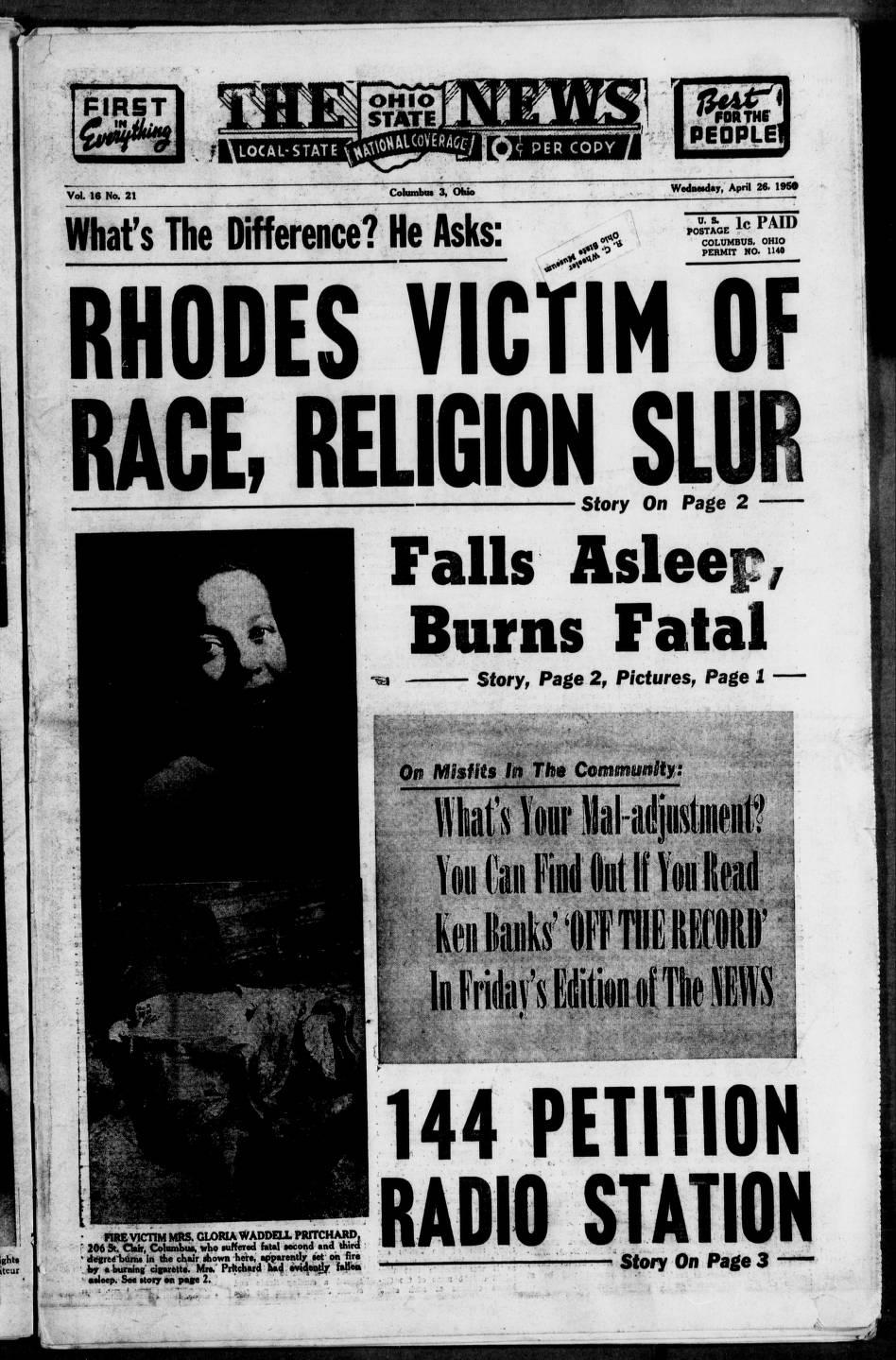 The Ohio State news (Columbus, Ohio), 1950-04-26 - Columbus