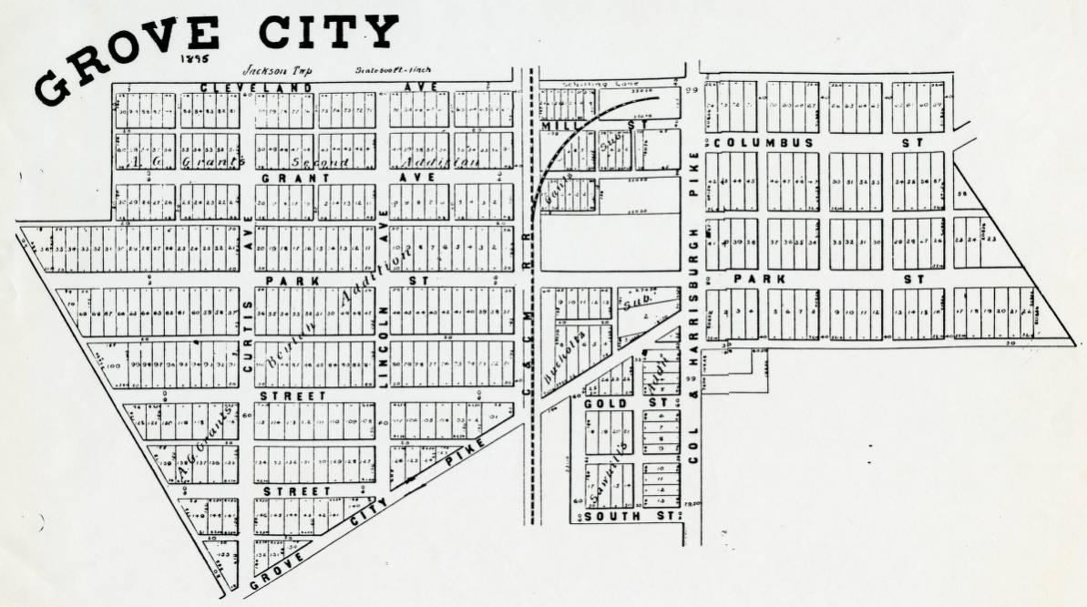 Grove City Ohio Map 1895 Map of Grove City, Jackson Township, Franklin County, Ohio  Grove City Ohio Map