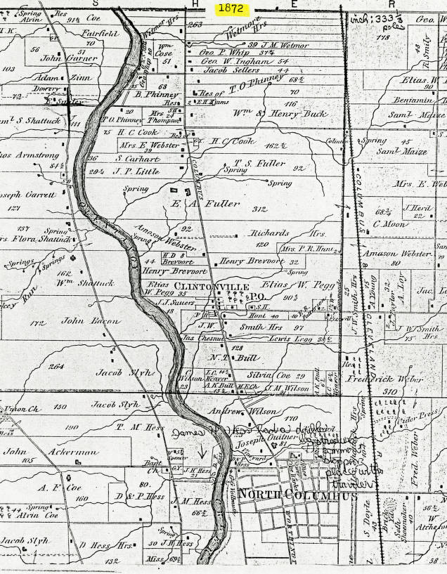 1872 Map Of Clinton Township Franklin County Ohio Columbus And