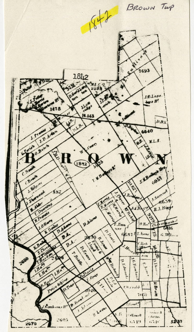 1842 Map Of Brown Township Franklin County Ohio Columbus And