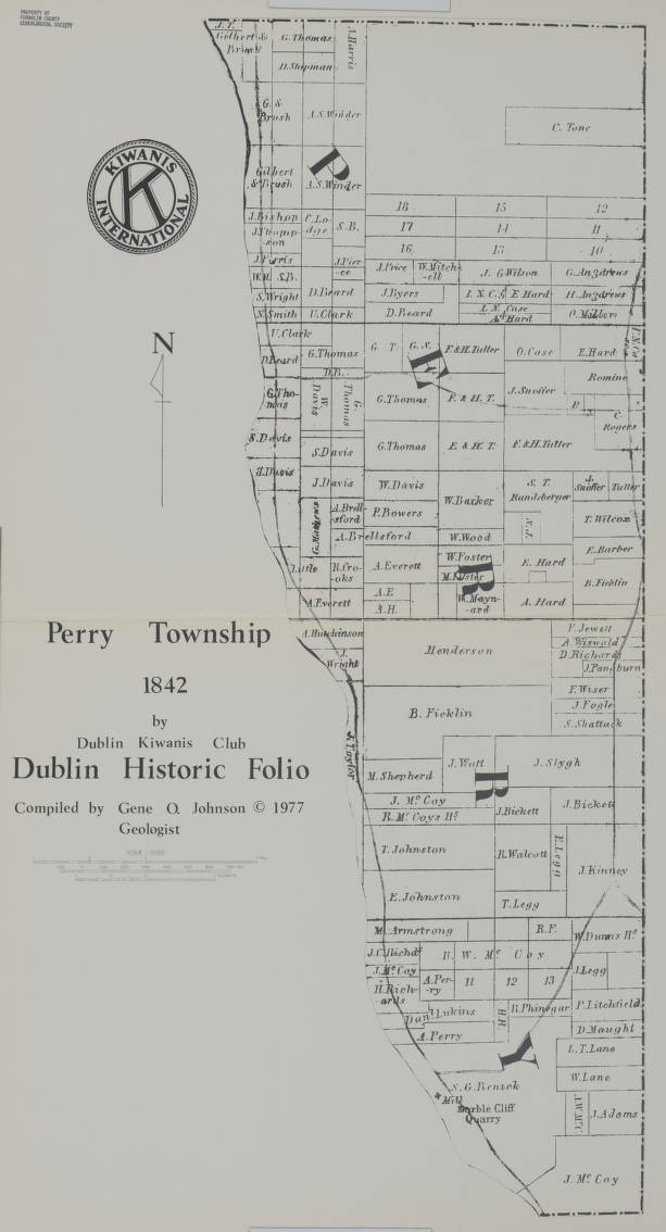 Franklin County Property Maps 1842 Property ownership plat map of Perry Township, Franklin