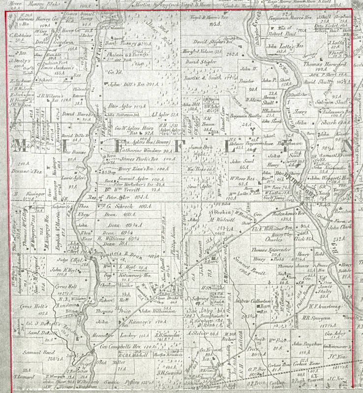 Franklin County Property Maps 1856 Property ownership plat map of Mifflin Township, Franklin