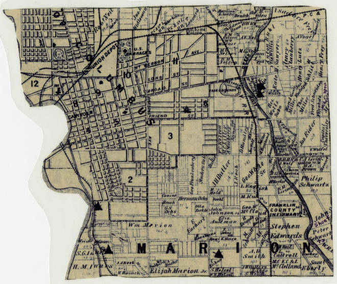 1883 Property ownership plat map of Marion Township