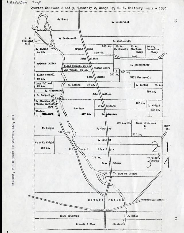 1830 Property ownership plat map of Blendon Township