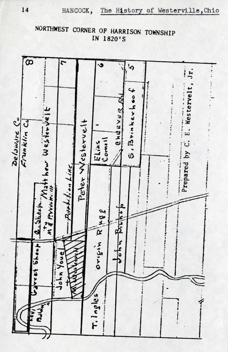 1830 Property ownership plat map the north west corner of