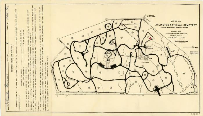 Map of the Arlington National Cemetery - Columbus Memory -