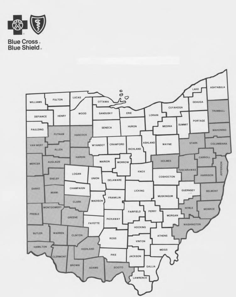 Map of Ohio Counties for Blue Cross-Blue Shield - Columbus ...